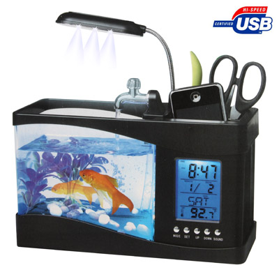Fish USB Desktop Aquarium Mini Tank with Running Water and 6 LED
