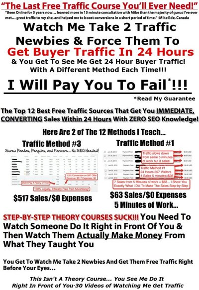 Get PAID to FAIL for no converting traffic in 24 Hours!