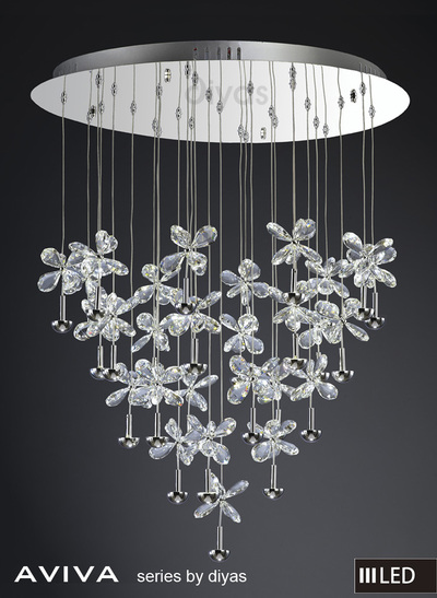 Buy Aviva 4000K Polished Crystal LED Pendant Light Round 28