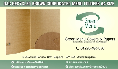 DAG RECYCLED BROWN CORRUGATED MENU FOLDERS A4 SIZE