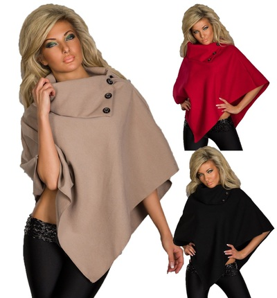 Ladies Wool Poncho | Women's Asymmetrical Top Cape