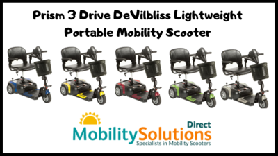 Stylish Prism 3 Drive DeVilbliss Lightweight Portable Mobility Scooter