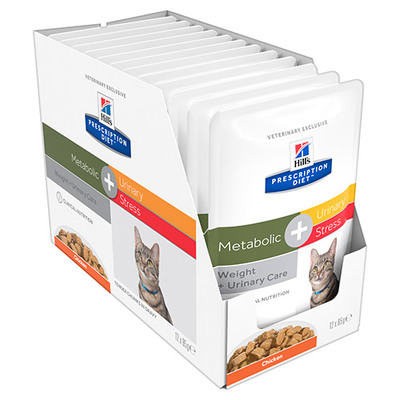 Hills Diet Metabolic + Urinary Stress Chicken Cat Food Pouch