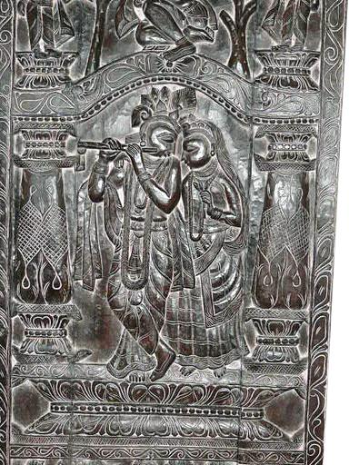 Wood Door Wall Panel India Temple Carving Radha Krishna