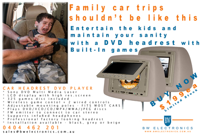 Sony Car DVD Video Headrest with *FREE* 325 Built In Games