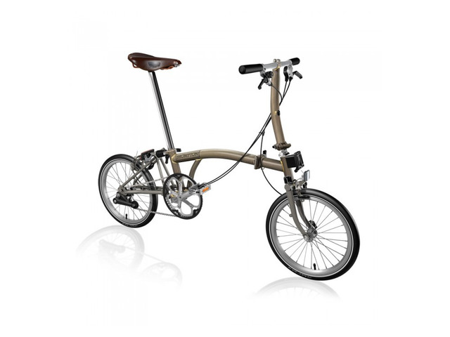 Brompton Steel/Titanium S2E Folding Bike with Front Carrier Block (World Racycles) - 1