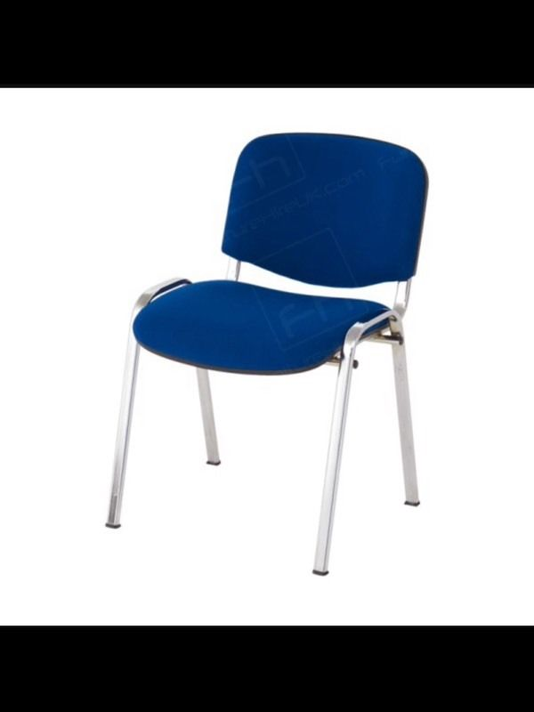 ISO Stacking Chair Blue Fabric Chrome Frame Without Arms in  Castlereagh