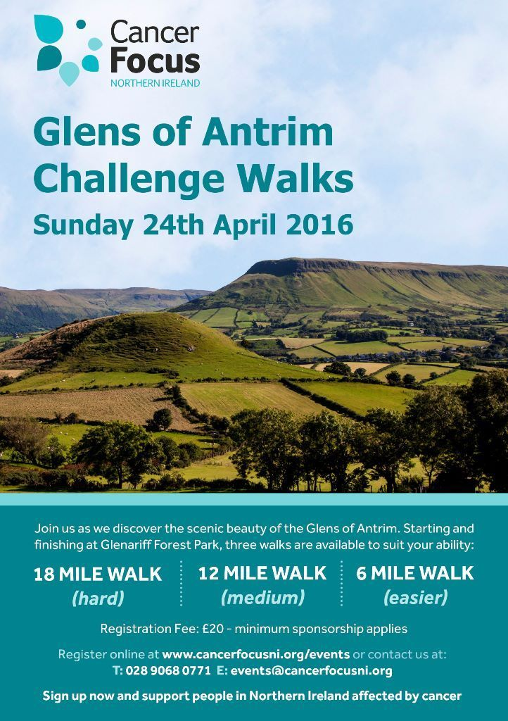 Cancer Focus- Glens of Antrim Challenge Walks, 24th April in 