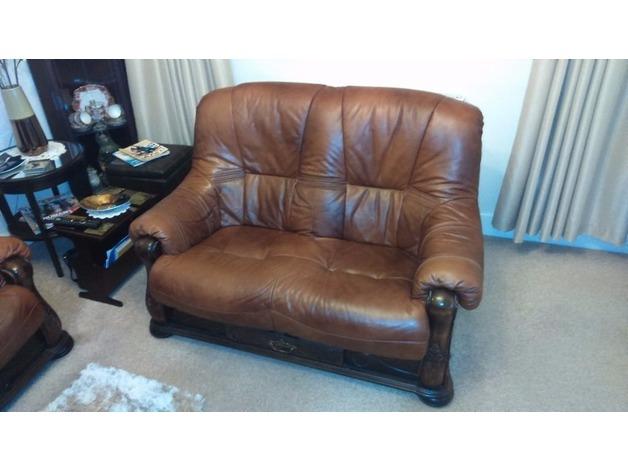 2x 2-seater tan leather sofas  in Bridgend