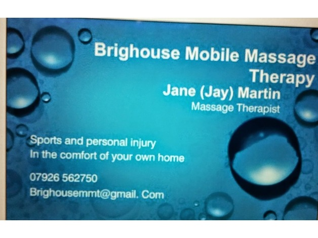 Brighouse Mobile Massage Therapist  in Brighouse