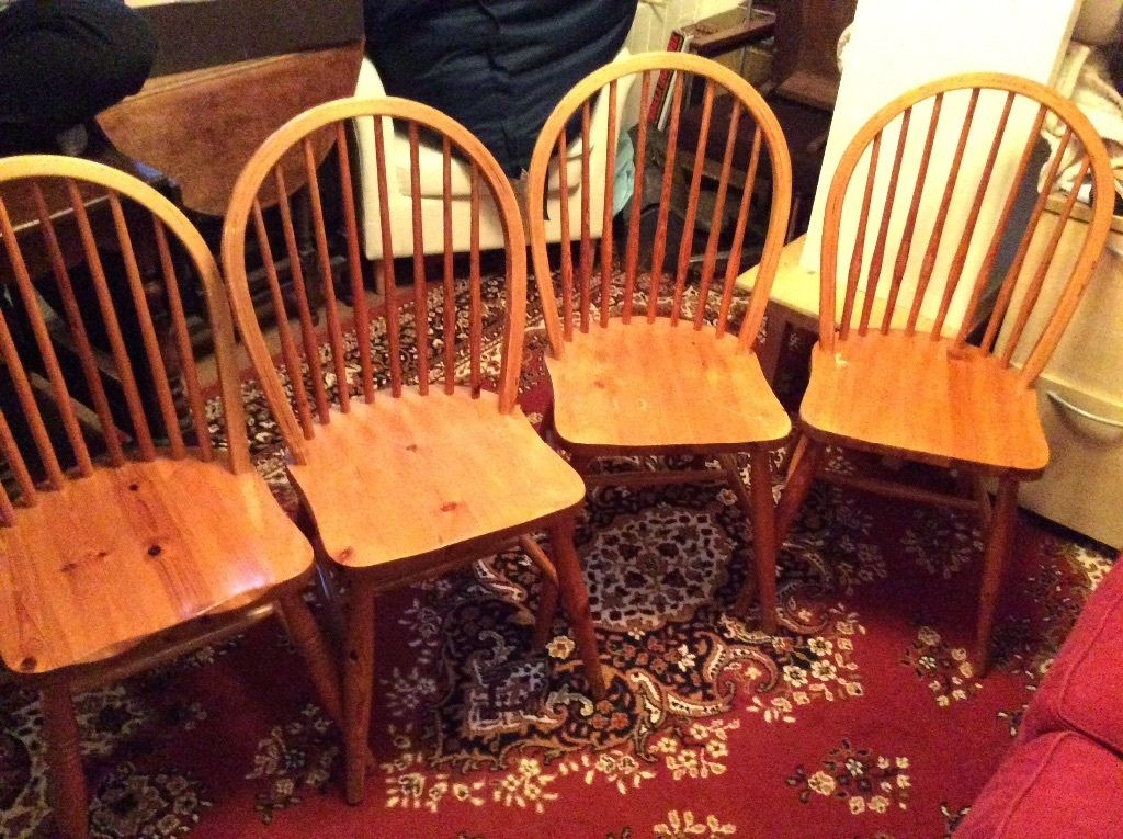 4 pine dining chairs in  Gloucester Road