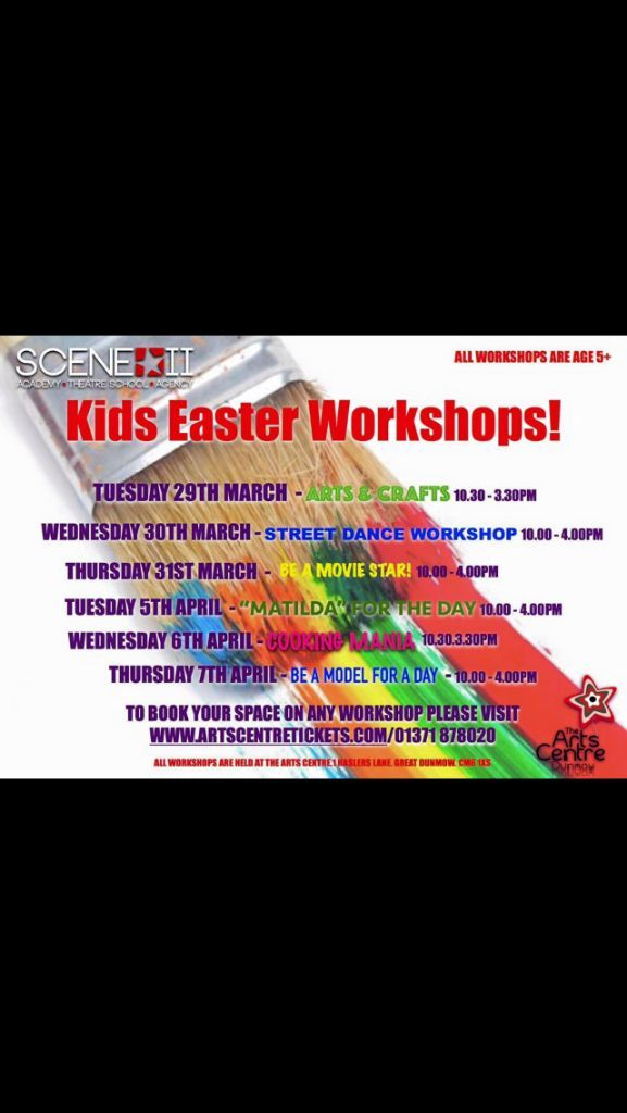 Easter workshops available at the Arts Centre in Great Dunmow in 