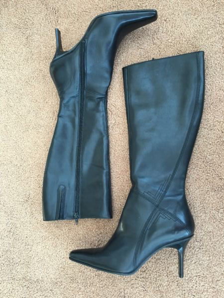 Ladies NEXT Black Leather Knee High Heeled Boots Size 6 in 