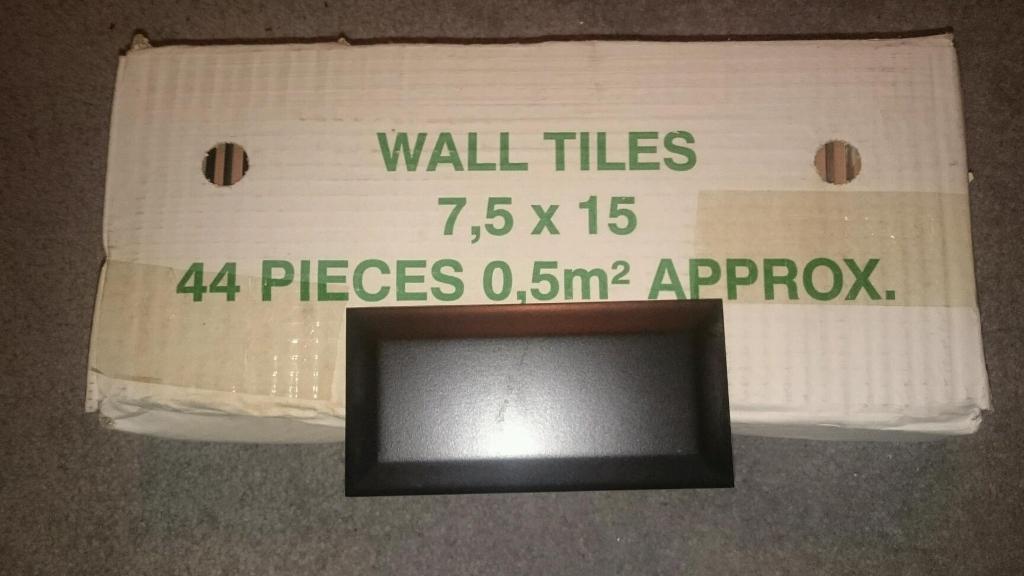 Box of 44 black ceramic wall tiles 7.5 x 15 cm in  East Kilbride