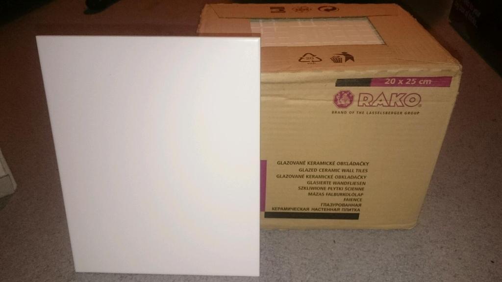 3 Boxes White Glazed Ceramic Wall Tiles 20x25 in  Calderwood