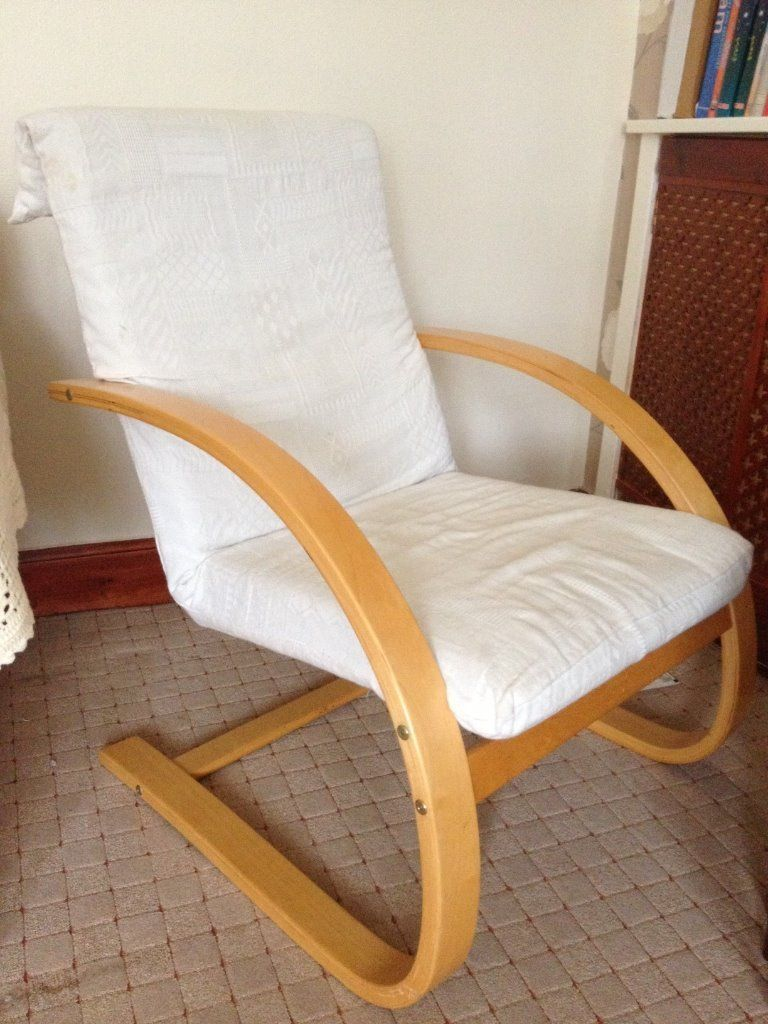 Wooden Relaxing Chair, arm chair for sitting room study room IKEA Wooden White Chair in 
