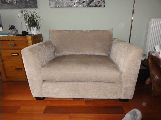 Light Brown Fabric Snuggle Chair in Glasgow