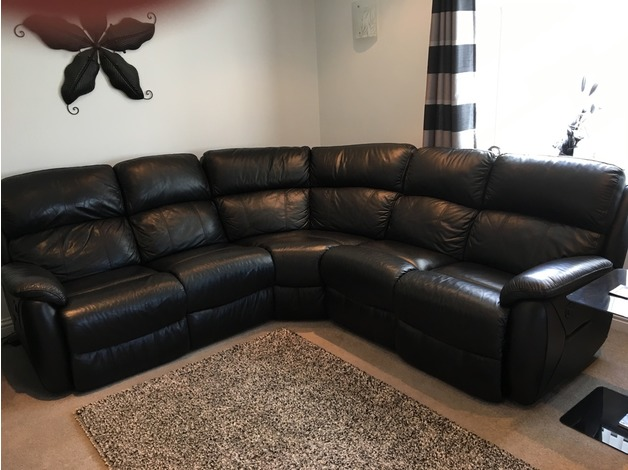 Black leather corner recliner sofa in Pembroke Dock