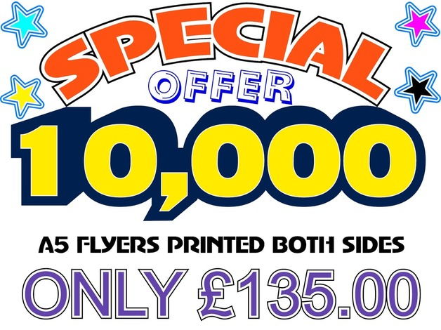 10,000 A5 leaflets for only £135.00 in Stockport