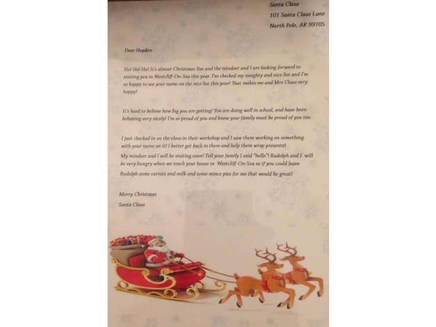 Personalised Christmas cards and Santa letters in Westcliff On Sea