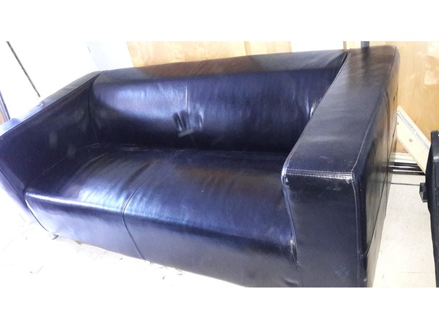 Great 2 seater ikea black leather sofa good condition in Wetherby