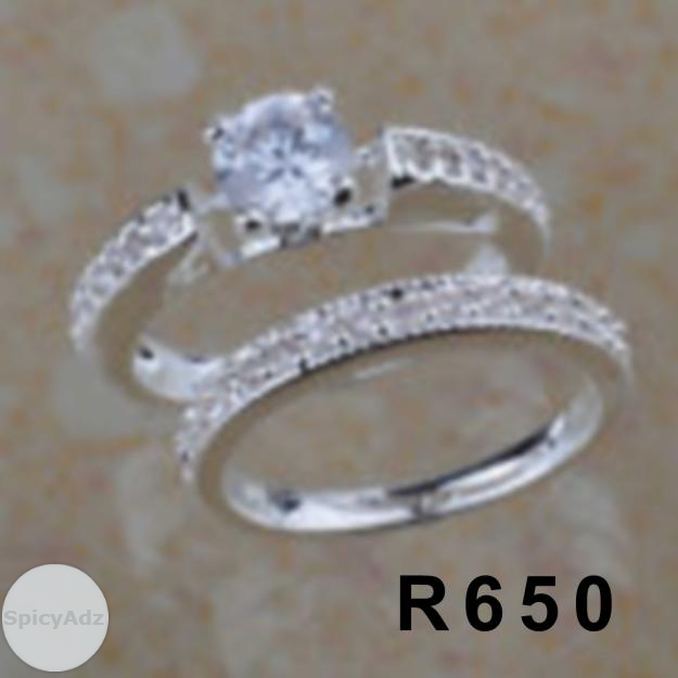 4. GORGEOUS! 925 STERLING SILVER 2 PIECE WEDDING SET CZ RINGS***SIZES 10 in Kimberley